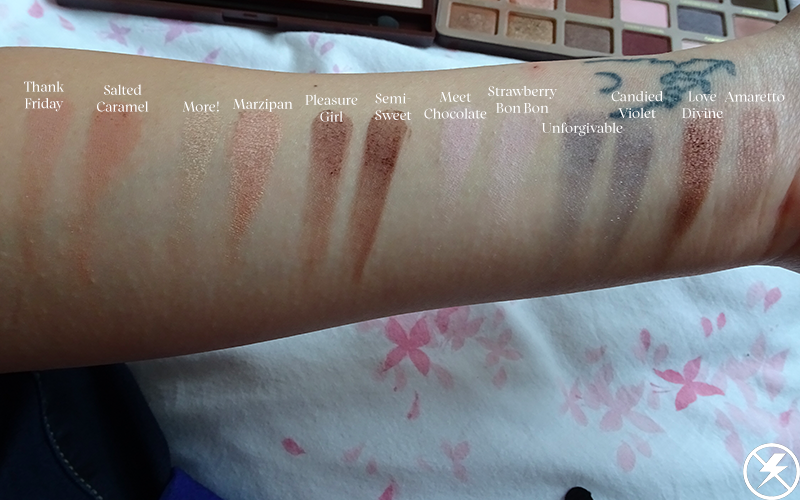 Too Faced Chocolate Bar vs. Makeup Revolution I Heart Chocolate Swatches No Flash