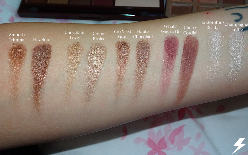Too Faced Chocolate Bar vs. Makeup Revolution I Heart Chocolate Swatches Flash