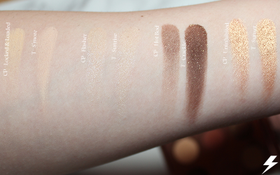 Colourpop Double Entendre vs. Tarte Toasted Swatches First Row Flash