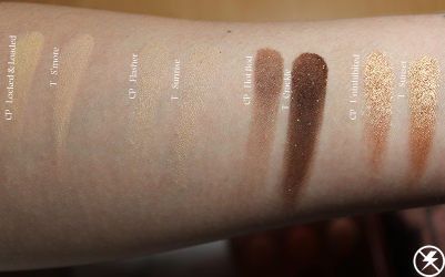 Colourpop Double Entendre vs. Tarte Toasted Swatches First Row No Flash