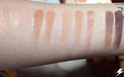 Colourpop Double Entendre vs. Tarte Toasted Swatches Third Row Flash
