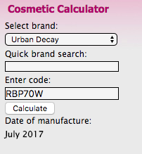 Check Cosmetic Urban Decay batch code date