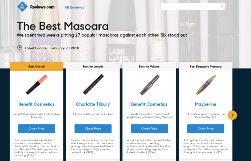 Reviews.com // The Best Mascara of 2018
