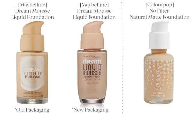 Maybelline Dream Mousse Liquid Foundation vs. Colourpop No Filter Foundation.png